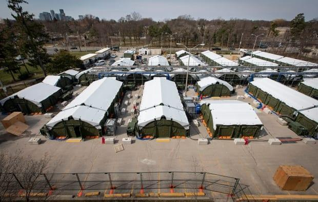 A field hospital was built in the parking lot of Sunnybrook Hospital earlier this month. The Ministry of Health said today that it may soon be activated to help increase capacity for critical care at hospitals in the Greater Toronto Area.
