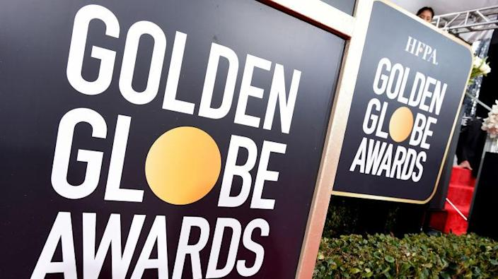 Golden Globes signage appears on the red carpet at the 76th annual Golden Globe Awards on Jan. 6, 2019.