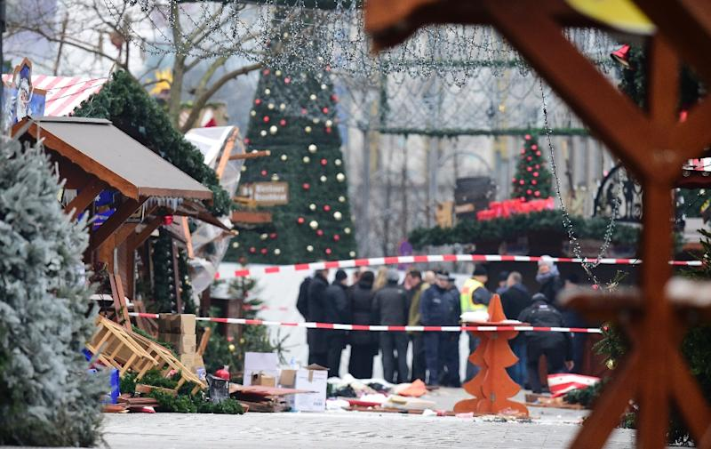 The Christmas market near the Kaiser-Wilhelm-Gedaechtniskirche the day after the attack, in Berlin on December 20, 2016