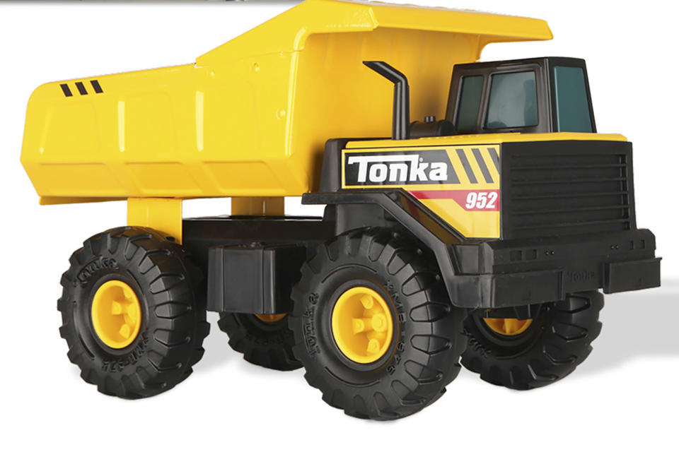 This undated photo provided by Basic Fun in September 2021 shows a Tonka Mighty Dump Truck. With three months until Christmas, the Basic Fun toy company has made an unprecedented decision: leave one-third of its iconic Tonka Mighty Dump Trucks destined for U.S. store shelves in China. (Basic Fun via AP)