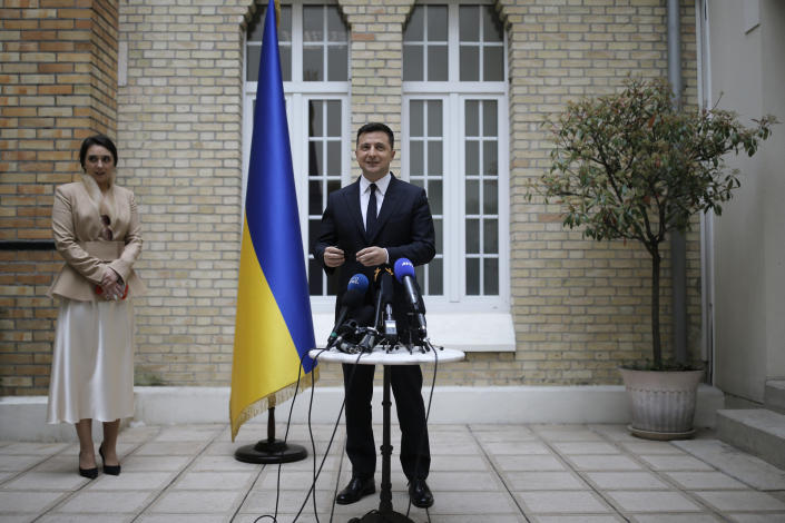 Ukrainian President Volodymyr Zelenskyy holds a press conference at the Ukrainian Embassy to France, Friday, April 16, 2021, in Paris. Ukrainian President Volodymyr Zelenskyy held talks with French President Emmanuel Macron and German Chancellor Angela Merkel amid his country's growing tensions with neighboring Russia, which has deployed troops near its border with Ukraine.(AP Photo/Lewis Joly)