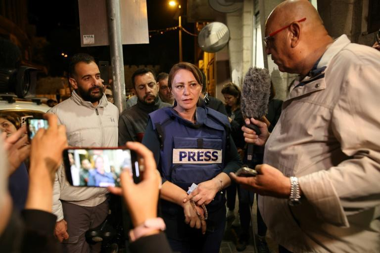 Al Jazeera journalist Givara Budeiri is seen after her release from a police station in east Jerusalem. She was arrested by Israeli forces during a protest in the neighborhood of Sheikh Jarrah