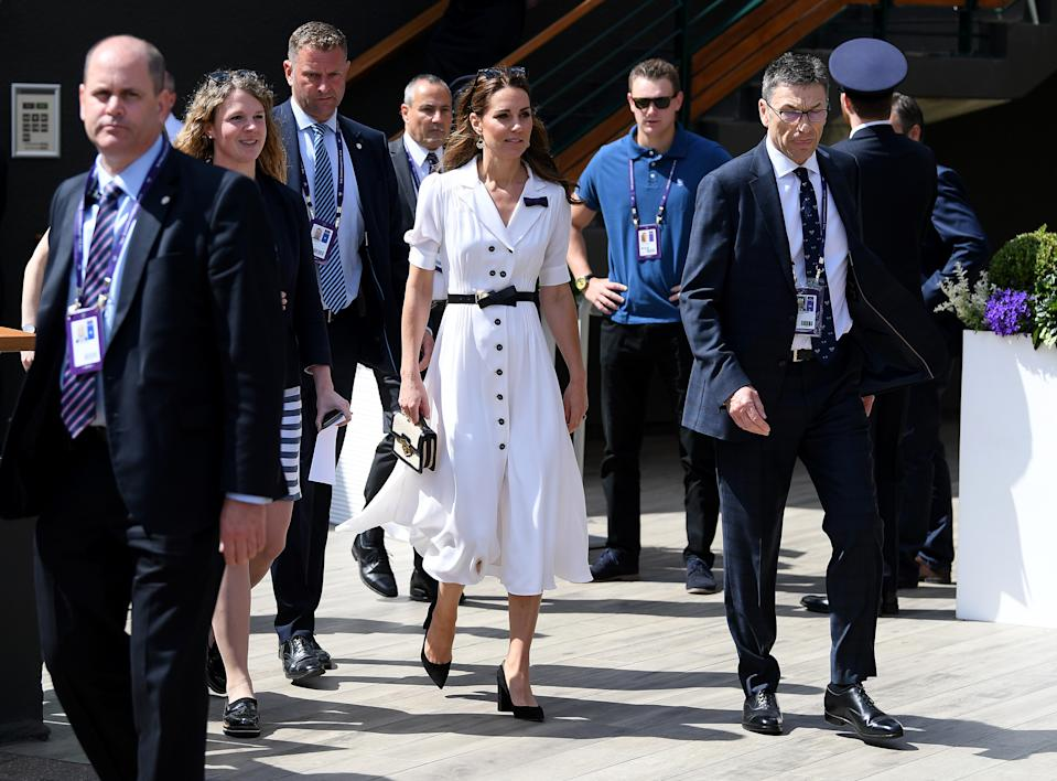 LONDON, ENGLAND - JULY 02: Catherine, Duchess of Cambridge attend Day two of The Championships - Wimbledon 2019 at All England Lawn Tennis and Croquet Club on July 02, 2019 in London, England. (Photo by Mike Hewitt/Getty Images)