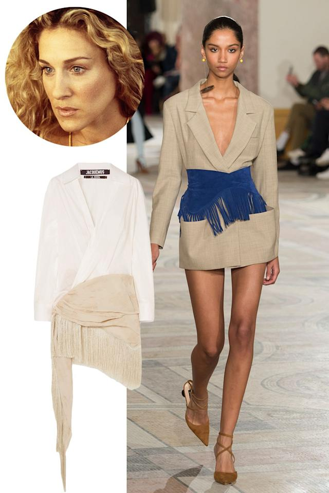"<p><strong>Original show counterpart: Helmut Lang<br></strong></p><p>The sultry vibe of Jacquemus is  resort wear meets a wild night out on the (beach) town. It's Carrie through and through, and the slinky, barely there dresses would fit right into that episode where Carrie throws up in the Hamptons.</p><p><em>Jacquemus Cotton-Poplin Embroidered Crepe de Chine Dress, £590</em></p><p><a rel=""nofollow"" href=""https://modesens.com/gb/en/product/JACQUEMUS-COTTON-POPLIN-AND-FRINGED-EMBROIDERED-CREPE-DE-CHINE-DRESS-WHITE-5941816/?"">SHOP NOW</a><br></p>"