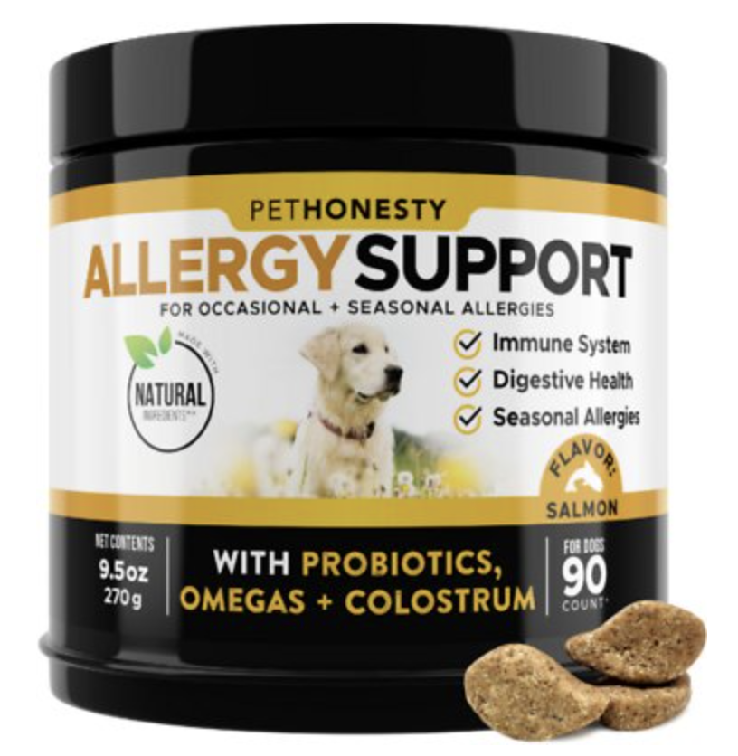 """<p><strong>PetHonesty</strong></p><p>chewy.com</p><p><strong>$21.30</strong></p><p><a href=""""https://go.redirectingat.com?id=74968X1596630&url=https%3A%2F%2Fwww.chewy.com%2Fpethonesty-allergy-support-immunity%2Fdp%2F190535&sref=https%3A%2F%2Fwww.delish.com%2Ffood%2Fg36598780%2Fbest-pet-supplements%2F"""" rel=""""nofollow noopener"""" target=""""_blank"""" data-ylk=""""slk:BUY NOW"""" class=""""link rapid-noclick-resp"""">BUY NOW</a></p><p>If your dog is licking and scratching like there's no tomorrow, these chews could help. This popular vet-recommended chew is ideal for a pup who has skin issues related to seasonal allergies. Ingredients are sourced in India, New Zealand, and the US, and the product is manufactured in the US as well.</p>"""