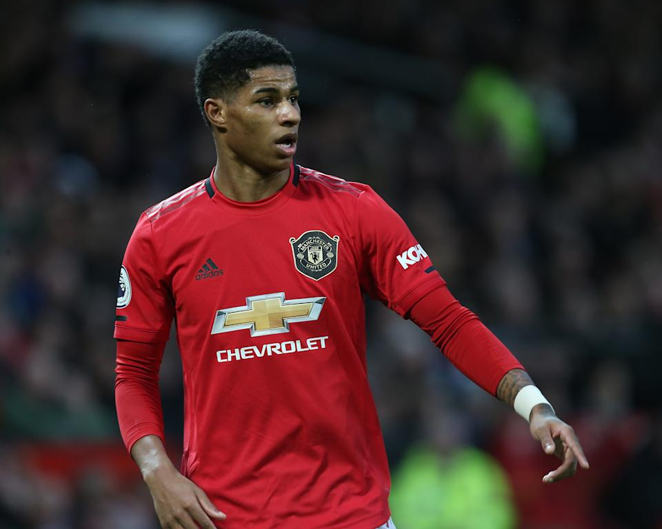 MANCHESTER, ENGLAND - JANUARY 11: Marcus Rashford of Manchester United in action during the Premier League match between Manchester United and Norwich City at Old Trafford on January 11, 2020 in Manchester, United Kingdom. (Photo by Tom Purslow/Manchester United via Getty Images)