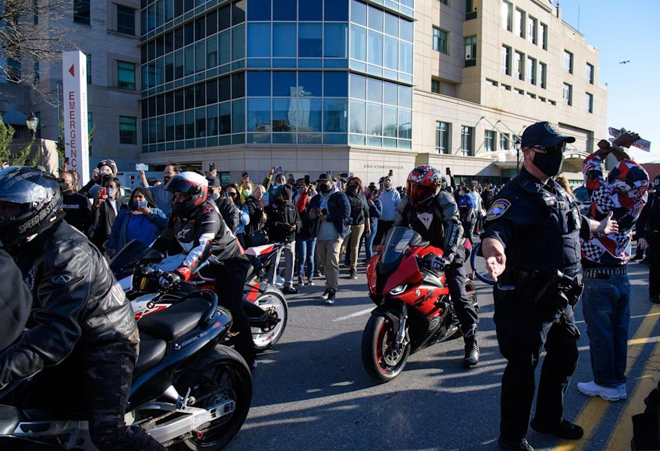 <p>A fleet of Ruff Ryders and fans rode through the area to drum up more support and love for Simmons throughout the day.</p>