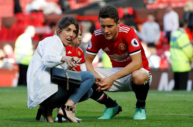 "Soccer Football - Premier League - Manchester United vs Watford - Old Trafford, Manchester, Britain - May 13, 2018 Manchester United's Ander Herrera with family after the match REUTERS/Darren Staples EDITORIAL USE ONLY. No use with unauthorized audio, video, data, fixture lists, club/league logos or ""live"" services. Online in-match use limited to 75 images, no video emulation. No use in betting, games or single club/league/player publications. Please contact your account representative for further details."