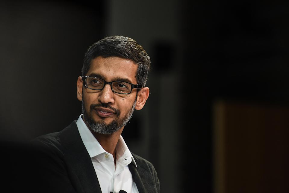 NEW YORK, NY – NOVEMBER 01: Sundar Pichai, C.E.O., Google Inc. speaks at the New York Times DealBook conference on November 1, 2018 in New York City. (Photo by Stephanie Keith/Getty Images)