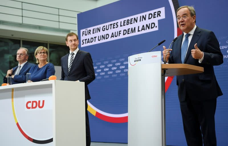 CDU's candidate for chancellor Armin Laschet holds a news conference, in Berlin
