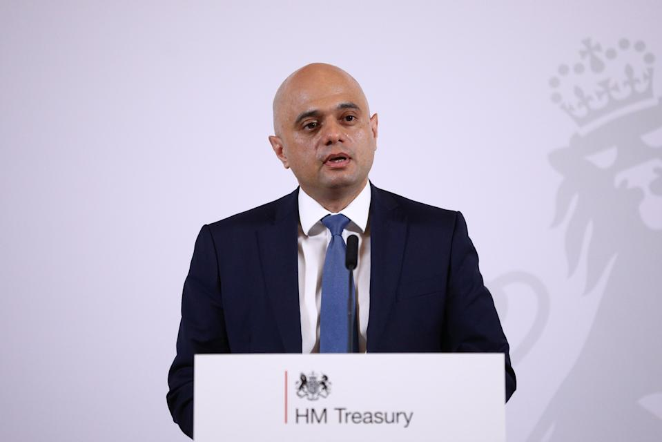 Chancellor of the Exchequer Sajid Javid issues a statement at the Treasury in London as he announces Andrew Bailey, the head of the Financial Conduct Authority, as the next governor of the Bank of England.