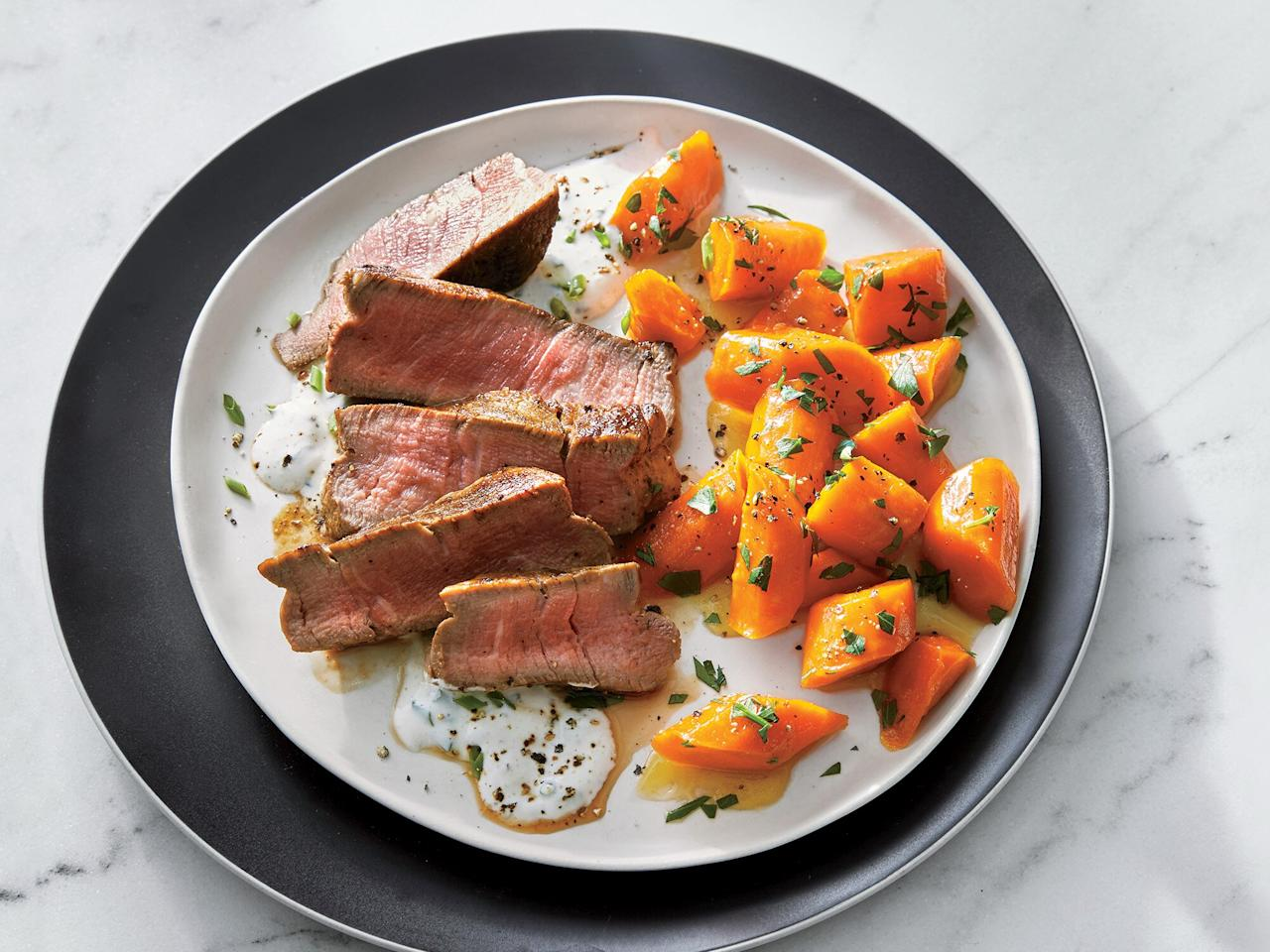 "<p>Beef tenderloin is worthy splurge when you want a special entrée in less time; the cut is so meltingly tender already that it takes just 8 minutes to cook. We use the same pan to cook and glaze the carrots for easy clean up. The horseradish sauce is the tangy, creamy, pungent element this dish needs.</p> <p> <a href=""https://www.cookinglight.com/recipes/beef-tenderloin-horseradish-cream-and-glazed-carrots"">View Recipe: Beef Tenderloin with Horseradish Cream and Glazed Carrots</a></p>"