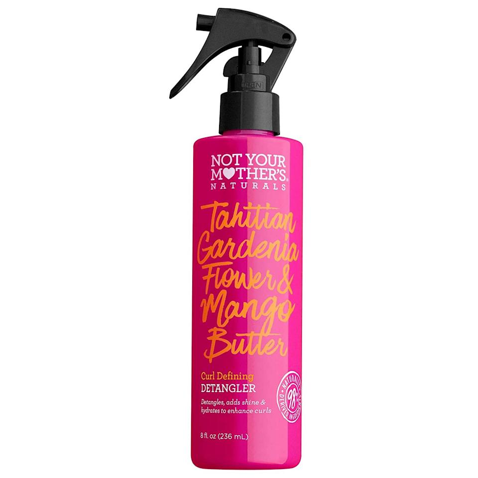 """All curl types — whether fine, loose, coarse, or thick — can benefit from Not Your Mother's Curl Defining Detangler, which instantly brings life back into coils. Newman emphasizes its lightweight feel and ability to detangle knots. The leave-in is created with moisturizing Tahitian gardenia flower and mango butter, which help impart moisture into hair, and then seals it in. You can also rest assured knowing it's formulated without sulfates and dyes, which can <a href=""""https://www.allure.com/story/how-to-take-care-of-curly-hair?mbid=synd_yahoo_rss"""" rel=""""nofollow noopener"""" target=""""_blank"""" data-ylk=""""slk:compromise your curls with dryness"""" class=""""link rapid-noclick-resp"""">compromise your curls with dryness</a>. To use, spray the product directly onto your hair, or mist onto your palms and scrunch in section by section."""
