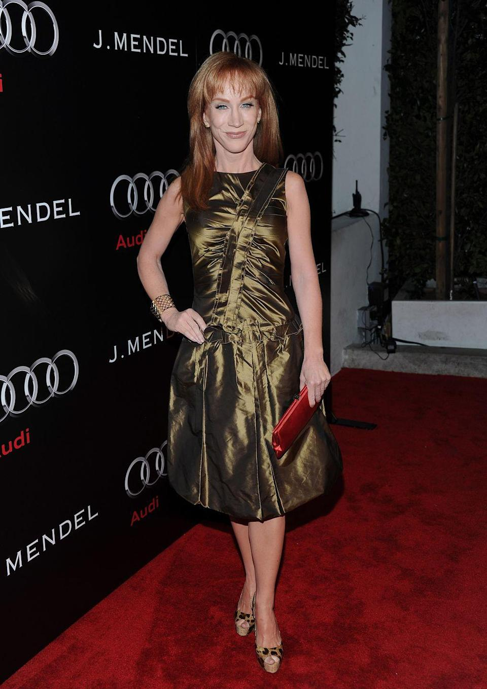 """<p>Kathy Griffin has used her cosmetic procedures as inspiration for her stand-up routines. But the comedian had an awful experience with liposuction, which led to some self-revelations. 'What I can't figure out is why I wasted time worrying about my looks,' <a href=""""https://www.nydailynews.com/entertainment/gossip/kathy-griffin-opens-botched-liposuction-jennifer-aniston-article-1.176229"""" rel=""""nofollow noopener"""" target=""""_blank"""" data-ylk=""""slk:she said"""" class=""""link rapid-noclick-resp"""">she said</a>. 'I am a comedian. I'm not on the runway in Milan. Believe it or not, people don't come to see me really thinking I'm going to look like Jennifer Aniston.'</p>"""
