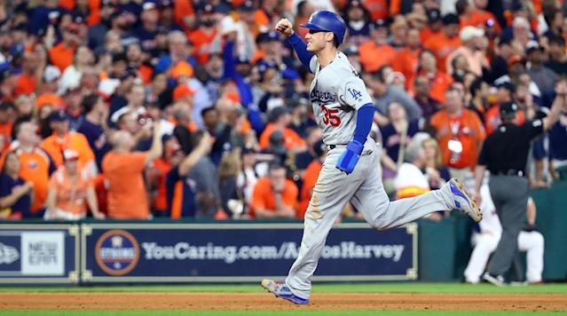 <p>In what will pass as shocking news if you didn't watch any baseball this season, Cody Bellinger is your National League Rookie of the Year. Such can be expected when you hit 39 home runs and post a .267/.352/.581 line as a 22-year-old and also help your team win its division and its first pennant since 1989 as part of a terrific World Series run. Fun fact: It took Cody just 43 games to pass his dad Clay in career home runs. In your face, dad!</p><p>Given that Bellinger is just 22 years old and that the Dodgers are a factory of success, expect to see a whole lot more of him and his whip-like swing over the next decade or so. But before we look ahead to 2018 and all the rest of those seasons, let's look back on Bellinger's 2017 campaign, when he came out of the minors as a fully-formed dinger god and clubbed some real good homers (and also hit for the cycle, because why not).</p><p>Bellinger's first career home run (and his second, from the same game):</p><p>Bellinger takes Andrew Miller (!) deep:</p><p>Bellinger homers twice in the first two innings against the Mets:</p><p>Bellinger goes deep for the 10th time in 10 games (please note Kiké Hernandez's reaction):</p><p>Bellinger clobbers a 446-foot homer in the Home Run Derby:</p><p>Bellinger hits for the cycle against the Marlins:</p><p>Bellinger breaks the Dodgers' franchise record for single-season homers by a rookie:</p><p>Bellinger does it all in NLDS Game 3 against the Diamondbacks:</p><p>Bellinger's game-winning double in Game 4 of the World Series:</p><p>Kudos on the big year, Cody. It should be fun to see what next year holds.</p>
