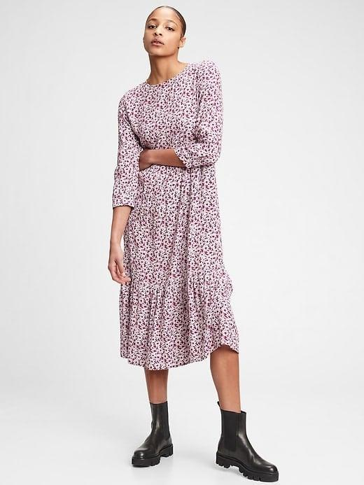 <p>Look and feel dressed up in this flowy <span>Gap Three-Quarter Sleeve Flounce Midi Dress</span> ($47, originally $80) but stay comfortable all the while. </p>