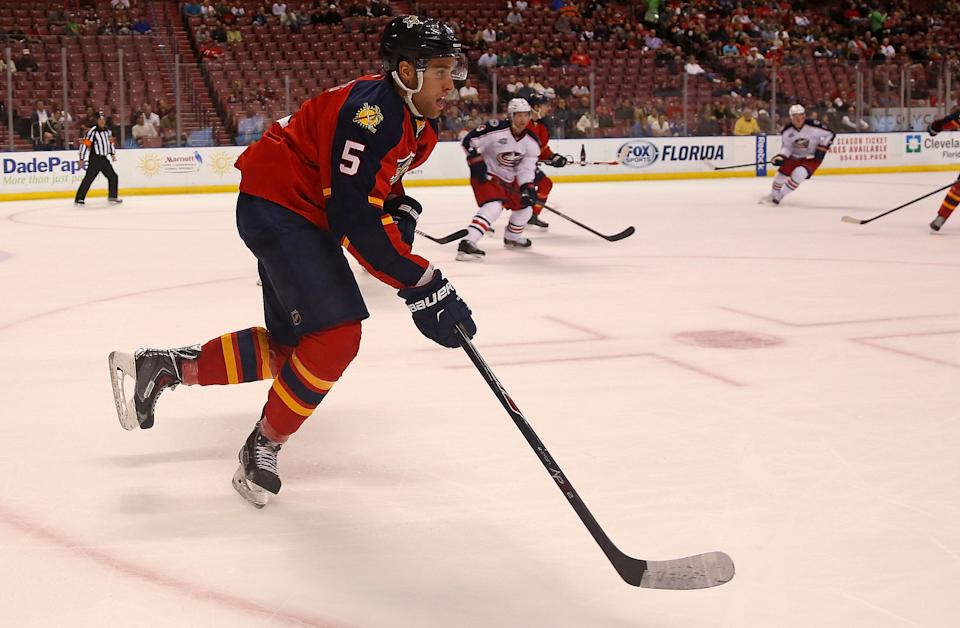 SUNRISE, FL - DECEMBER 04: Aaron Ekblad #5 of the Florida Panthers looks on during a game against the Columbus Blue Jackets at BB&T Center on December 4, 2014 in Sunrise, Florida. (Photo by Mike Ehrmann/Getty Images)