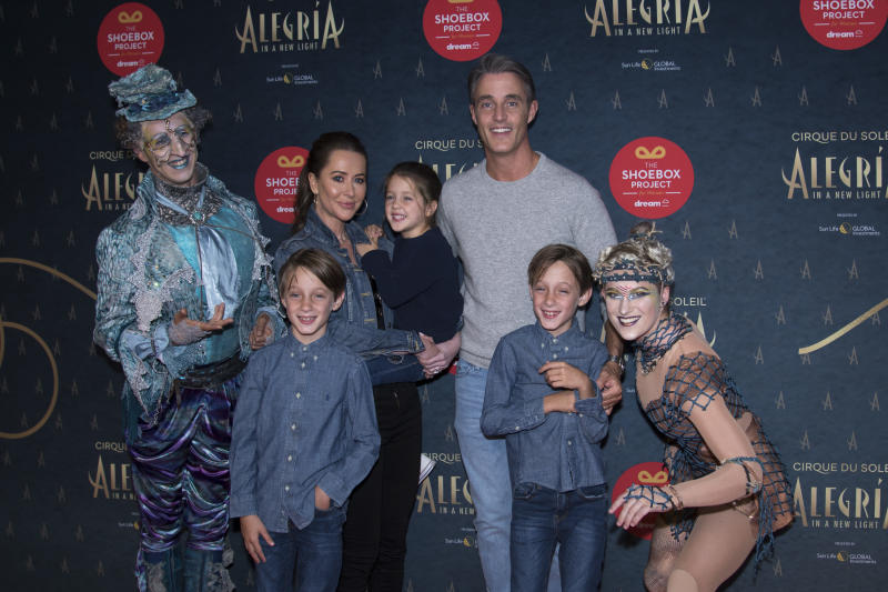 ONTARIO PLACE, TORONTO, ONTARIO, CANADA - 2019/09/19: Canadian TV personality Ben Mulroney, his wife Jessica Mulroney (Jessica Brownstein) and childrens Brian Gerald Alexander Mulroney, John Benedict Dimitri Mulroney and daughter Isabel Veronica Mulroney attend the red carpet premiere of Cirque du Soleil most iconic production, Alegria at Under the Big Top, Ontario Place in Toronto. (Photo by Angel Marchini/SOPA Images/LightRocket via Getty Images)