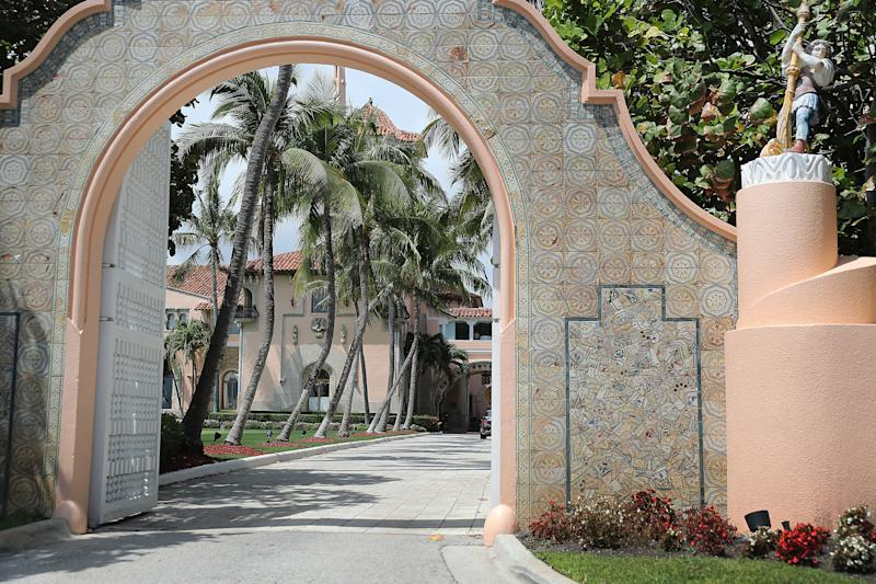 An entranceway to President Donald Trump's Mar-a-Lago resort is seen on April 3, 2019 in West Palm Beach, Florida. (Joe Raedle via Getty Images)