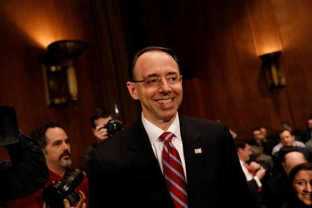 Rod Rosenstein, nominee to be Deputy Attorney General, arrives to testify before the Senate Judiciary Committee