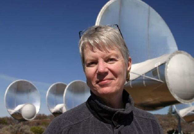 SETI pioneer Jill Tarter at the Allen Telescope Array in California, one of the prime sites for the search for extraterrestrial intelligence. (Credit: SETI Institute)