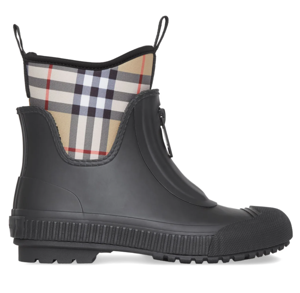 Burberry 'Flinton' Vintage-Check Rain Boots (Photo via MatchesFashion)