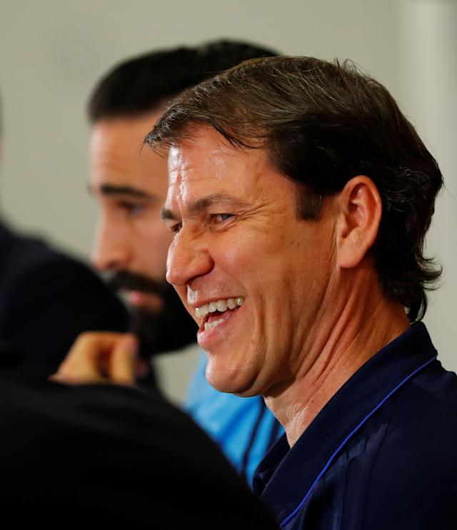 Soccer Football - Europa League - Olympique de Marseille Press Conference - Red Bull Arena, Salzburg, Austria - May 2, 2018. Marseille coach Rudi Garcia and player Adil Rami react during the press conference. REUTERS/Leonhard Foeger