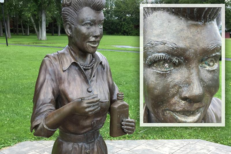 A bronze sculpture of Lucille Ball is displayed in Lucille Ball Memorial Park in Celoron, N.Y. (Photos: Courtesy of Tom Andolora)
