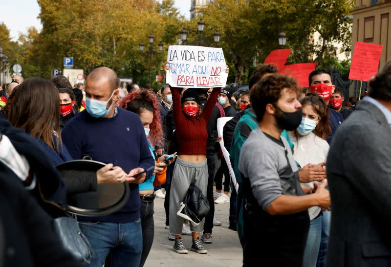 Hospitality sector protests against COVID restrictions in Seville