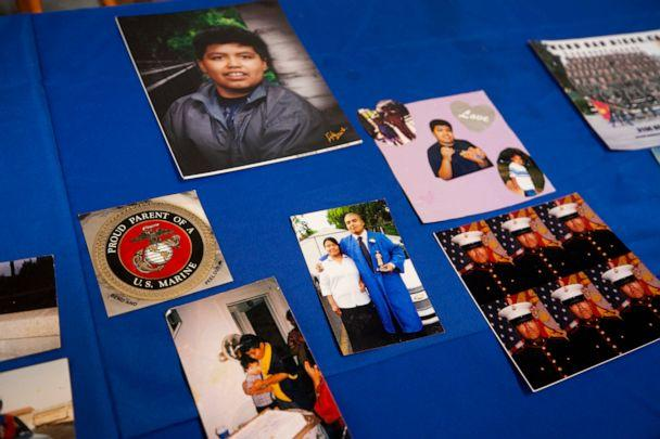 PHOTO: Photos of Jilmar Ramos-Gomez are laid out on a table at a press conference held by American Civil Liberties Union of Michigan and Loevy & Loevy civil rights attorneys about the December 2018 unlawful detainment of Jilmar Ramos-Gomez. (Brian Hayes/The Grand Rapids Press via AP)