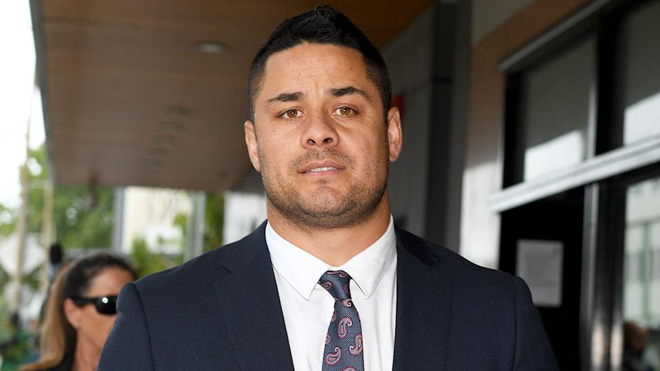 Former NRL star Jarryd Hayne is seen here at court in Newcastle for his sexual assault trial.