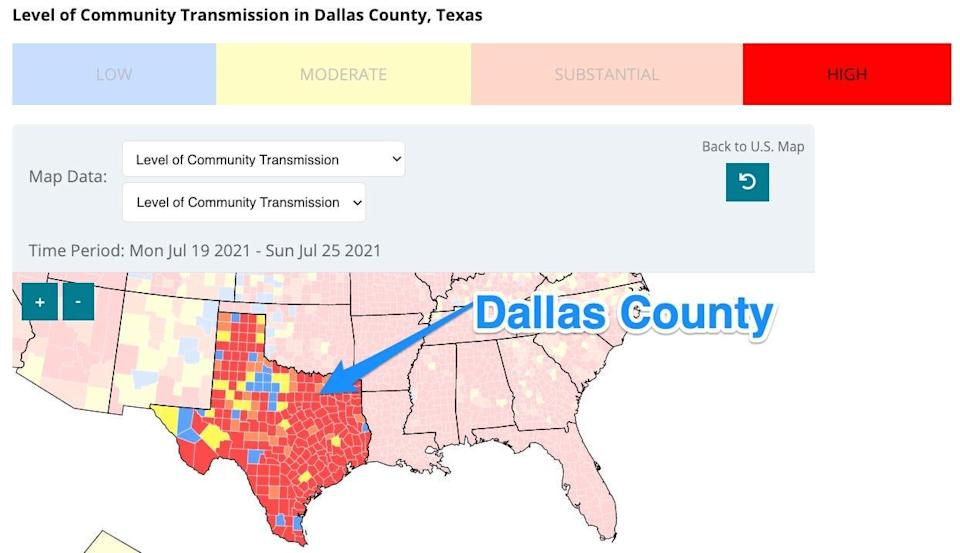 a map of texas color coded in  blue, yellow, orange, and red, showing where COVID transmission is highest
