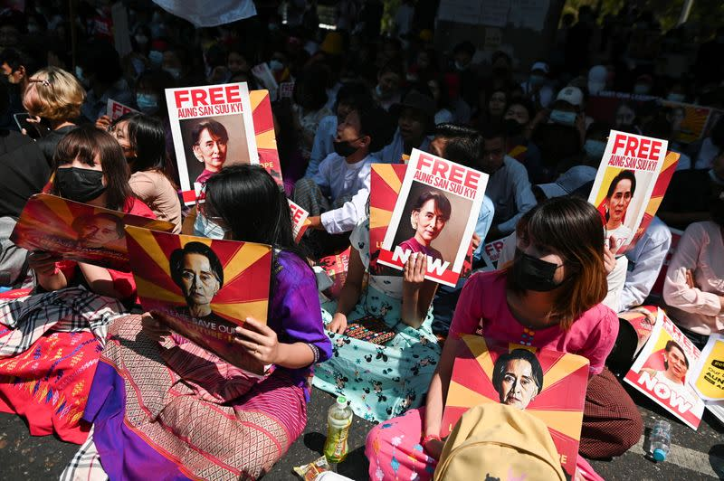 Factory workers rally against the military coup in Yangon