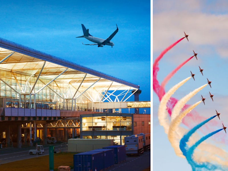 Left: London Stansted Airport at twilight; Right: RAF's aerobatics display team, the Red Arrows, in formation flight at 2015's Scotlands National Airshow. (Photos: Getty)