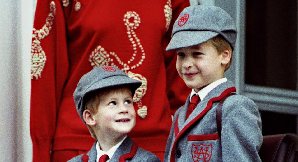 Prince Harry, aged five, on his first day of school with Prince William in 1989 (Getty Images)