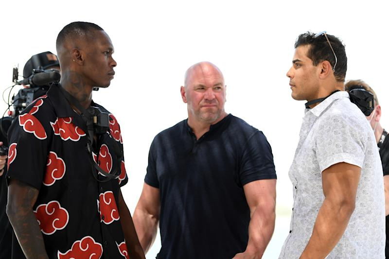 ABU DHABI, UNITED ARAB EMIRATES - SEPTEMBER 24: (L-R) Opponents Israel Adesanya of Nigeria and Paulo Costa of Brazil face off during the UFC 253 Press Conference on September 24, 2020 at Yas Beach on UFC Fight Island, Abu Dhabi, United Arab Emirates. (Photo by Josh Hedges/Zuffa LLC)