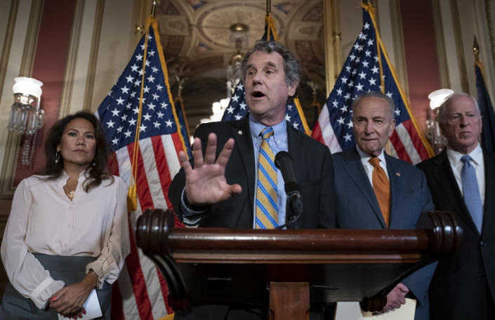 From left, Rep. Veronica Escobar, D-Texas, whose district contains El Paso, Texas, where a gunman killed 22 people at an El Paso, Texas, Walmart store, Sen. Sherrod Brown, D-Ohio, Senate Minority Leader Chuck Schumer, D-N.Y., and Rep. Mike Thompson, D-Calif., chairman of the House Gun Violence Prevention Task Force, call for a Senate vote on the House-passed Bipartisan Background Checks Act as Congress returns for the fall session with pressure mounting on Senate Majority Leader Mitch McConnell to address gun violence, at the Capitol in Washington, Monday, Sept. 9, 2019. (AP Photo/J. Scott Applewhite)