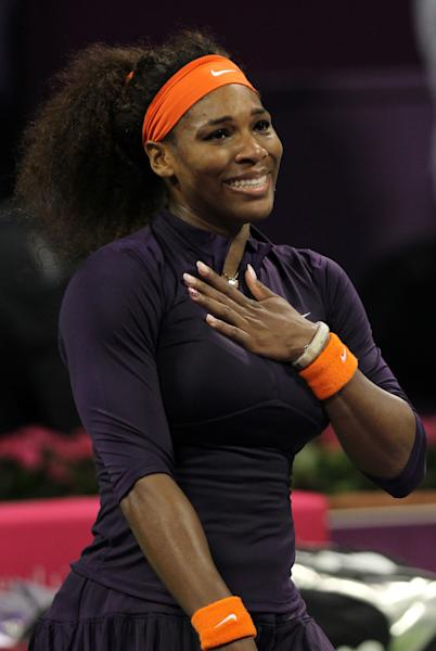 Serena Williams of the U.S. reacts after winning against Czech Republic's Petra Kvitova in their WTA Qatar Ladies Open tennis quarterfinal match in Doha, Qatar, Friday, Feb. 15, 2013. (AP Photo/Osama Faisal)