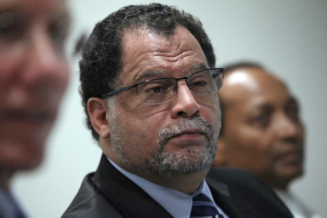 """FILE - In this Wednesday April 28, 2010 file photo, Danny Jordaan, CEO of the 2010 World Cup Organizing Committee in South Africa, listens during a World Cup soccer news conference in New York. The South African soccer federation has promised Morocco """"unqualified support"""" in its bid to host the 2026 World Cup. The federation says its president, Danny Jordaan, assured Morocco's delegation """"he will personally lobby"""" African officials ahead of the scheduled vote in Moscow on June 13, 2018. (AP Photo/Bebeto Matthews, file)"""