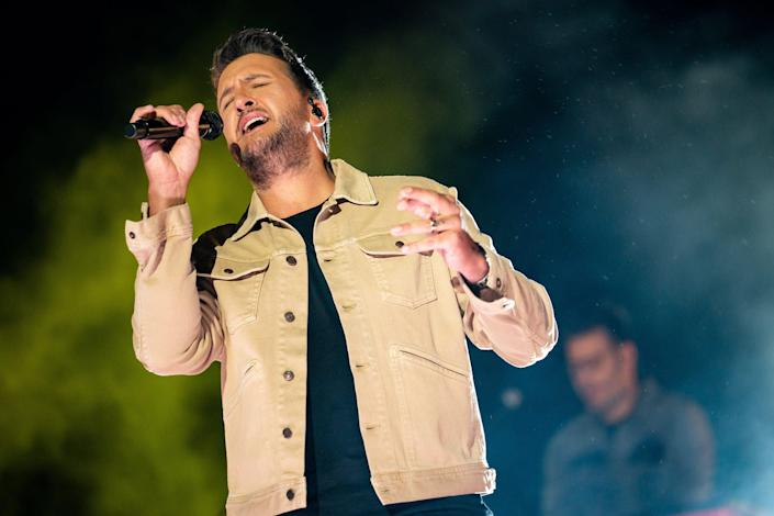 Luke Bryan performs during an CMT Music Awards taping at Assembly Hall at 5th and Broadway in Nashville, Tenn., Wednesday, May 12, 2021.