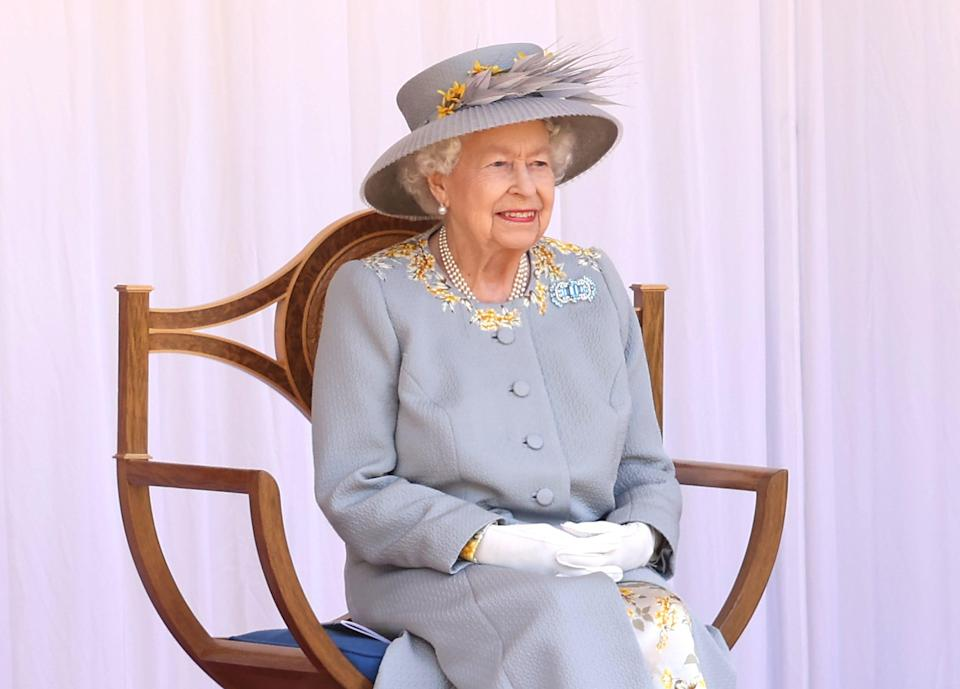 WINDSOR, ENGLAND - JUNE 12: Queen Elizabeth II attends a military ceremony in the Quadrangle of Windsor Castle to mark her Official Birthday on June 12, 2021 in Windsor, England. Trooping of the Colour has marked the Official Birthday of the Sovereign for over 260 years and it has been agreed once again that in line with government advice The Queen's Birthday Parade, also known as Trooping the Colour, will not go ahead in its traditional form. This years parade is formed by soldiers who have played an integral role in the NHS' COVID-19 response, as well as those who have been serving on military operations overseas. (Photo by Chris Jackson/Getty Images)