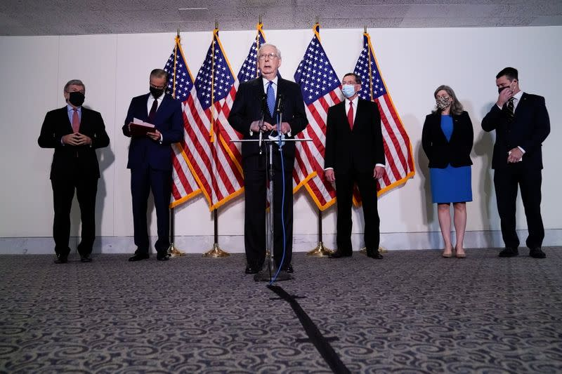 Senate Majority Leader McConnell participates in a news conference with other Senate Republicans at the U.S. Capitol in Washington