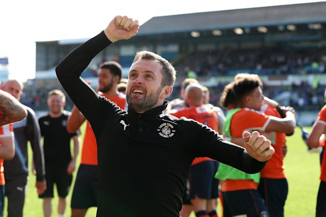 "Soccer Football - League Two - Carlisle United v Luton Town - Brunton Park, Carlisle, Britain - April 21, 2018 Luton Town manager Nathan Jones celebrates promotion after the game Action Images/John Clifton EDITORIAL USE ONLY. No use with unauthorized audio, video, data, fixture lists, club/league logos or ""live"" services. Online in-match use limited to 75 images, no video emulation. No use in betting, games or single club/league/player publications. Please contact your account representative for further details."