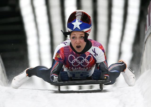 Katie Uhlaender of the U.S. finishes in the women's skeleton event at the 2014 Sochi Winter Olympics