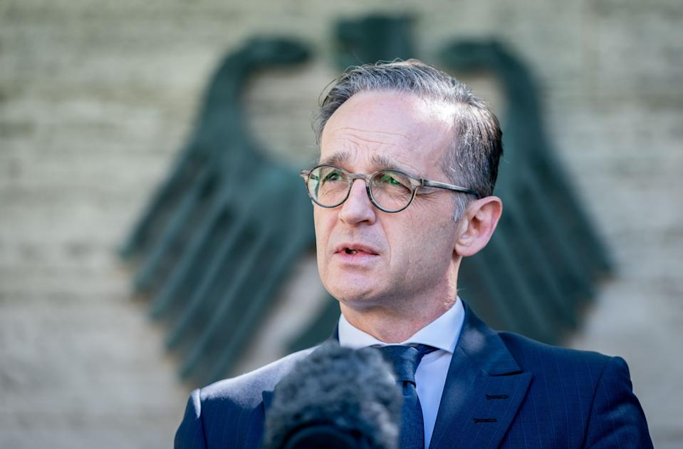03 June 2020, Berlin: Heiko Maas (SPD), Foreign Minister, gives a press statement to the Foreign Office. The Federal Government is preparing an end to the travel warning for tourists from 15 June for 29 European states, if the development of the corona pandemic allows it. Photo: Kay Nietfeld/dpa (Photo by Kay Nietfeld/picture alliance via Getty Images)