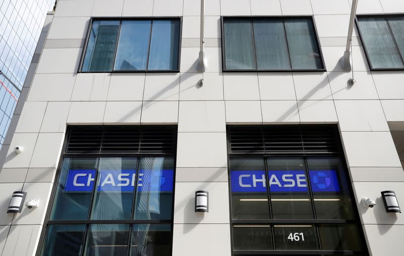 FILE PHOTO: Cameras are seen on the exterior of a Chase Bank branch in New York