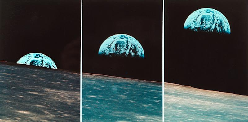 "FILE - This file three-picture sequence made from May 21, 1969 photos provided by NASA shows the Earth rising above the moon, taken from Apollo 10 during their return from the sunless backside into the sunny side of the moon. Apollo 10 launched on May 18, 1969, and spent 192 hours 3 minutes 23 seconds in space. NASA, the agency that epitomized the ""Right Stuff,"" looks lost in space and doesn't have a clear sense of where it is going, an independent panel of science and engineering experts said in a stinging report Wednesday. (AP Photo/NASA, File)"