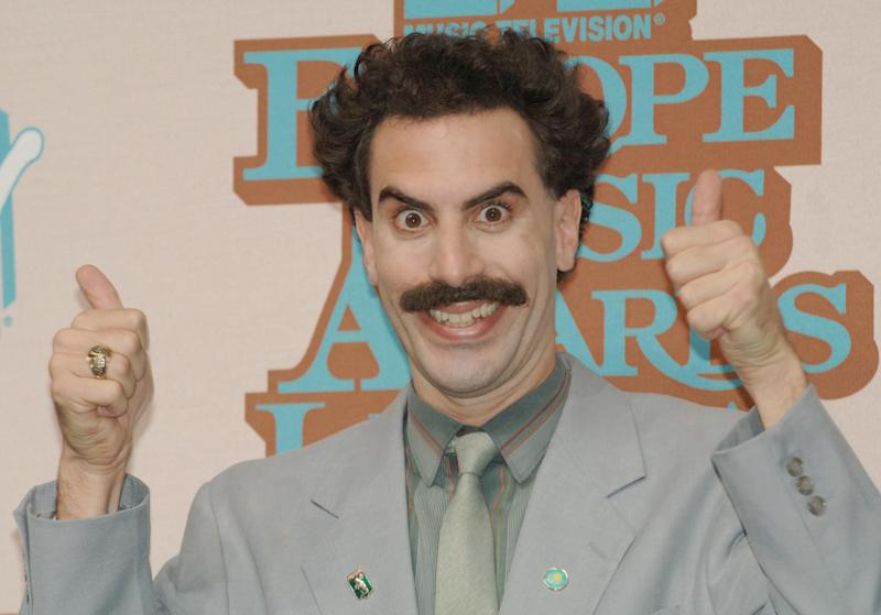 "Sacha Baron Cohen as ""Borat"" in Lisbon, Portugal. (Photo by Kevin Mazur/WireImage)"