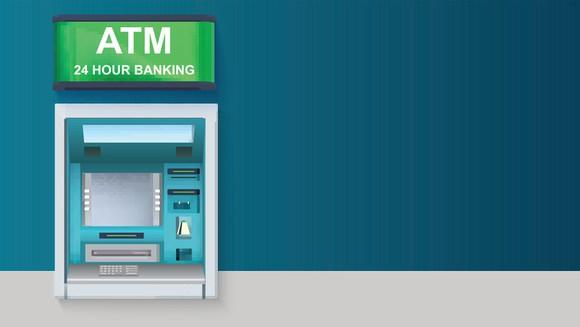 "ATM on blue background, with green sign on top which reads ""ATM / 24 Hour Banking."""