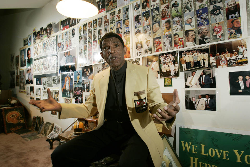FILE - In this Oct. 2, 2008, file photo, former NFL player Herb Adderley speaks as he sits in a room full of memorabilia from his playing days at his home in Mantua, N.J. Hall of Fame cornerback Herb Adderley has died. He was 81. His death was confirmed Friday, Oct. 30, 2020, on Twitter by nephew Nasir Adderley, a safety for the Los Angeles Chargers. Adderley played on six NFL title teams over a 12-year career with Green Bay and Dallas. (AP Photo/Mel Evans, File)